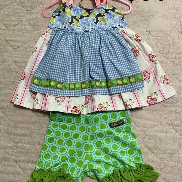 Matilda Jane Other - Matilda Jane platinum top w/ ruffle shorts 🍏